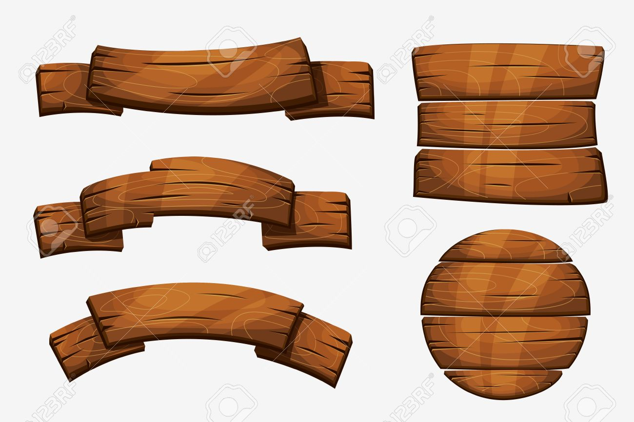 Cartoon wooden plank signs. Wood banner elements isolated on white background. Wooden board round form illustration - 67859059