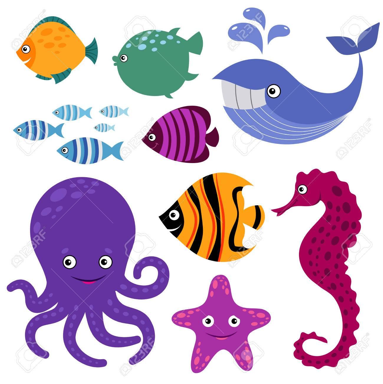 Lindas Criaturas Marinas Dibujos Animados Sonriendo Animales Marinos ...