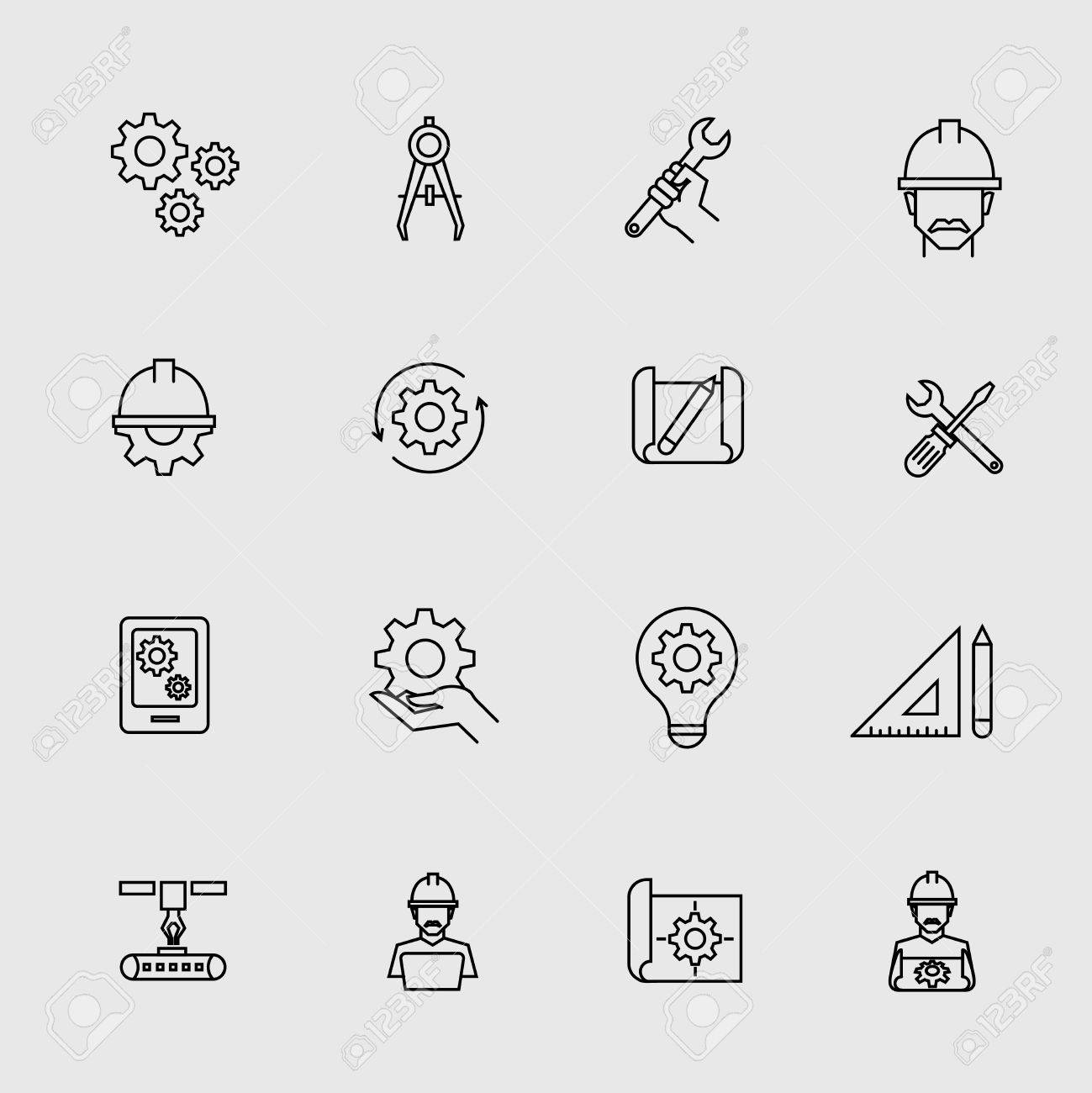 Engineering Simple Icons Machine Engineers And Architect Engineer