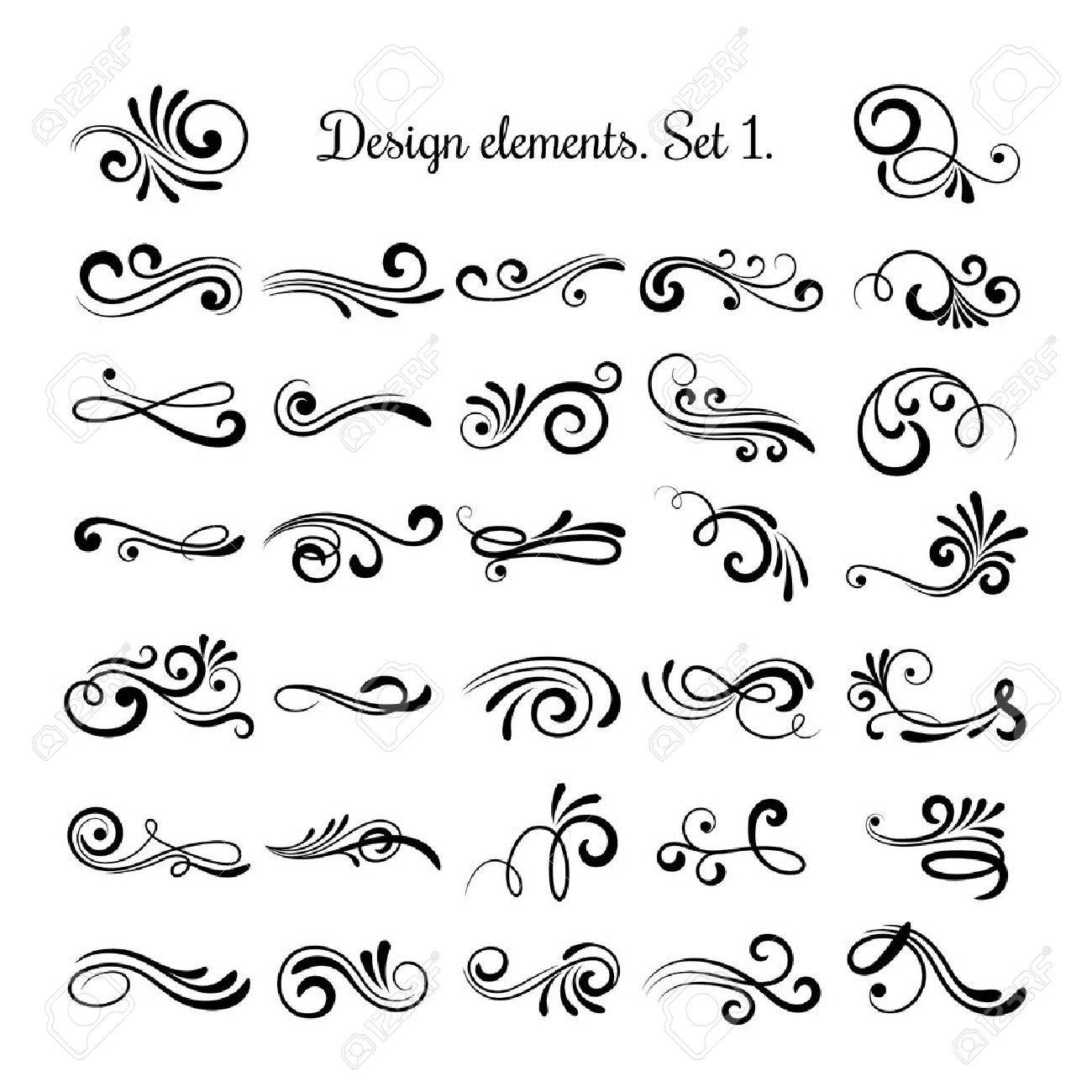 Swirly line curl patterns isolated on white background vector swirly line curl patterns isolated on white background vector flourish vintage embellishments for greeting cards stopboris Images