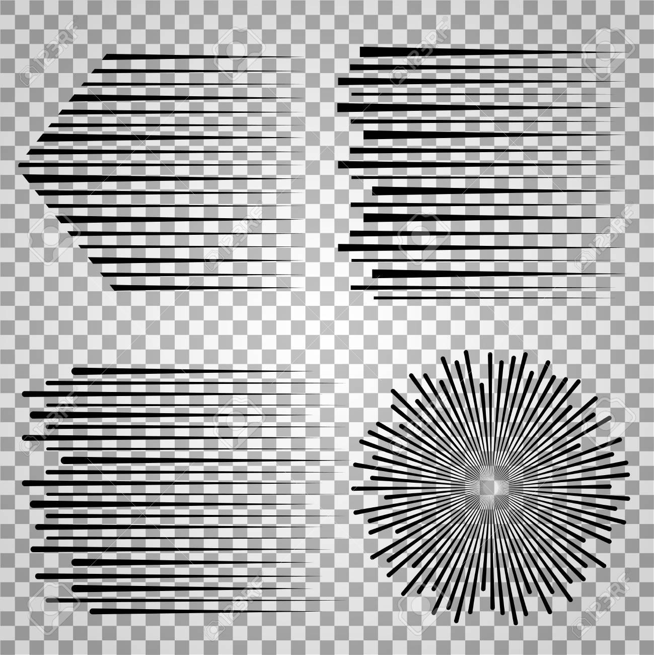 Sketch force and motion fast lines on transparent background radial line effect illustration