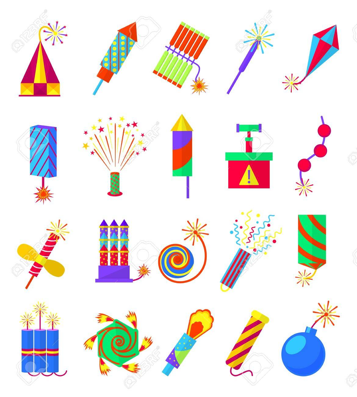 Pyrotechnics Burning Firework Colored Icons Festival Firecrackers And Sparklers Crackers Petards Isolated On