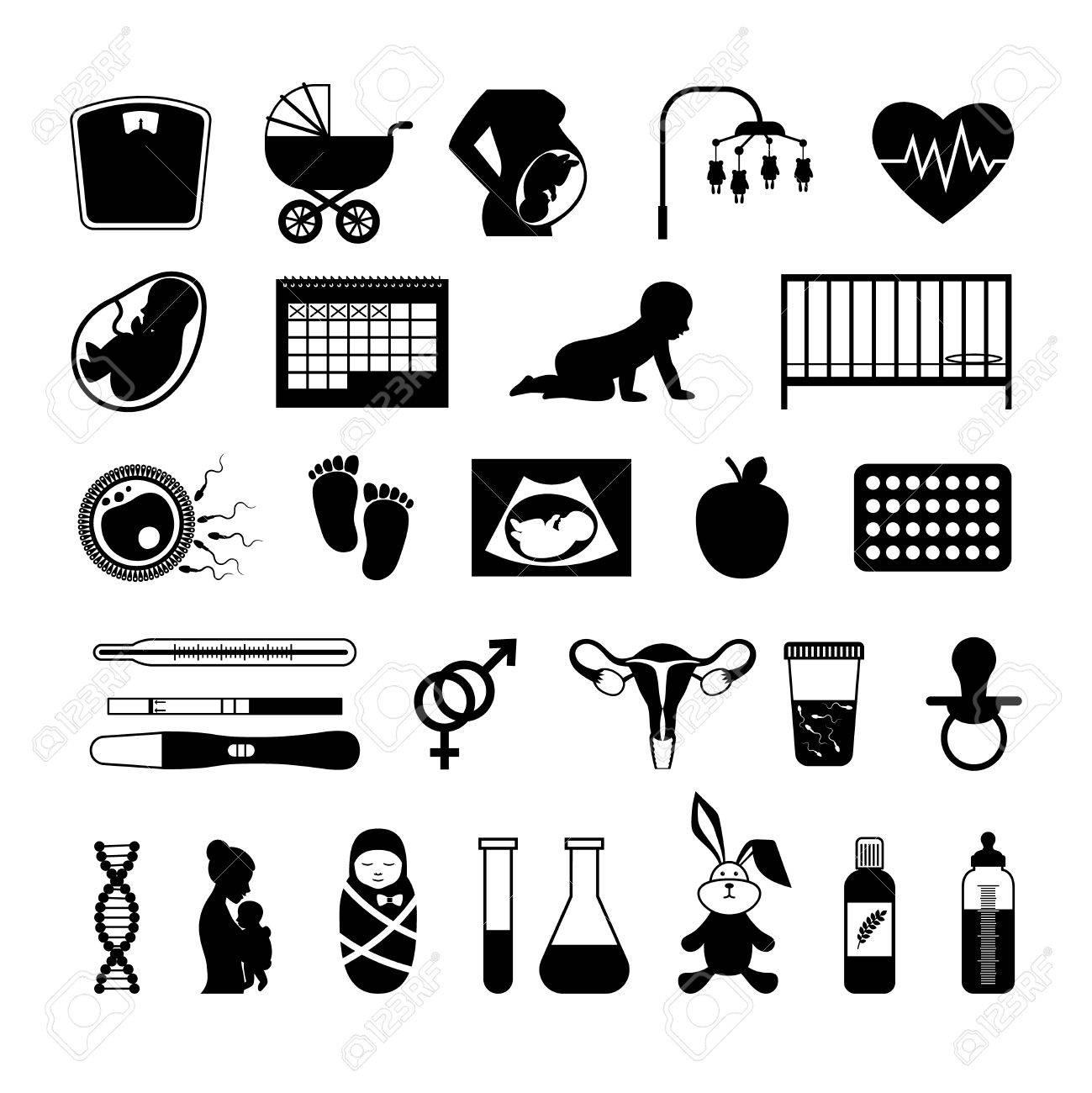 Schwangerschaft Schwarze Symbole. Schwangere Gesundheit Test Und ...