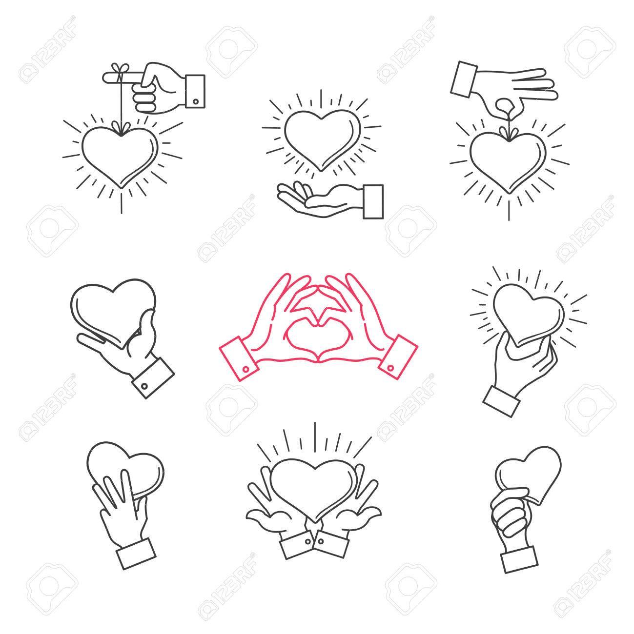 Gefuttert Hand Liebe Zeichen Vector Hande Machen Herzform Symbol