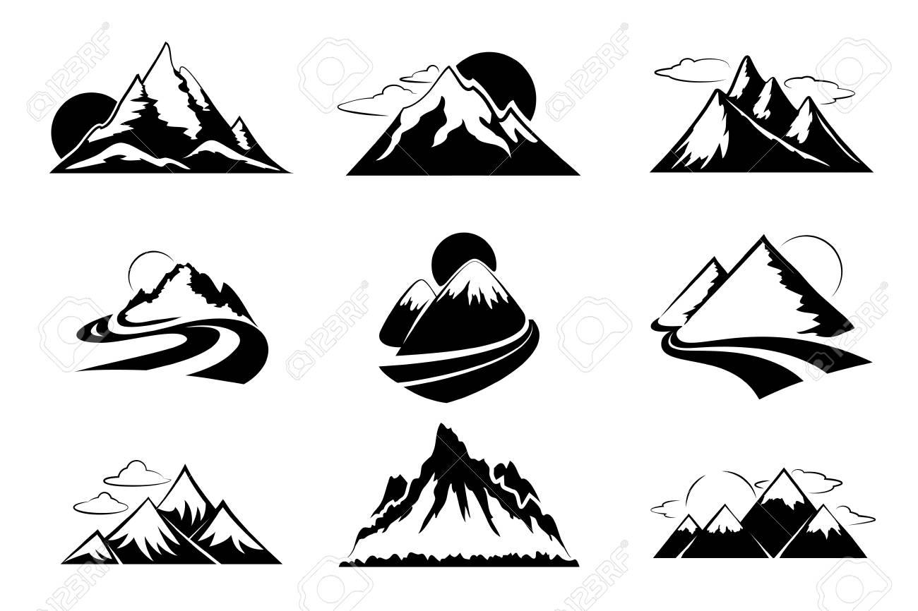 山シルエット ベクトル イラストです山ハイキング旅行アウトドア レジャーの設定mountaon 旅行の冒険
