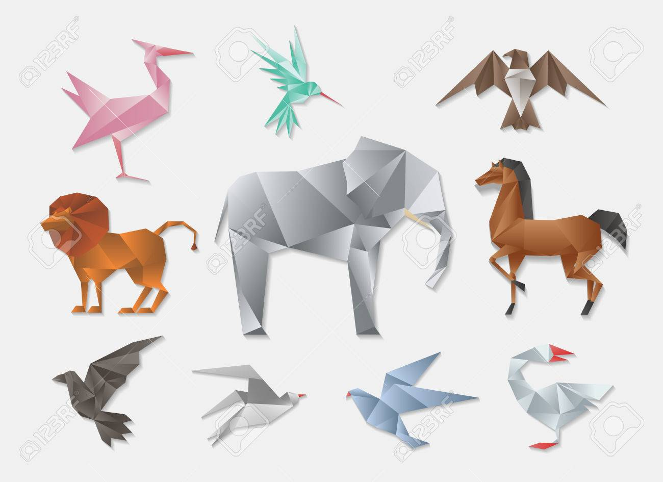 Origami Animals Vector 3d Paper Japanese Animal Set Elephant And Horse Lion