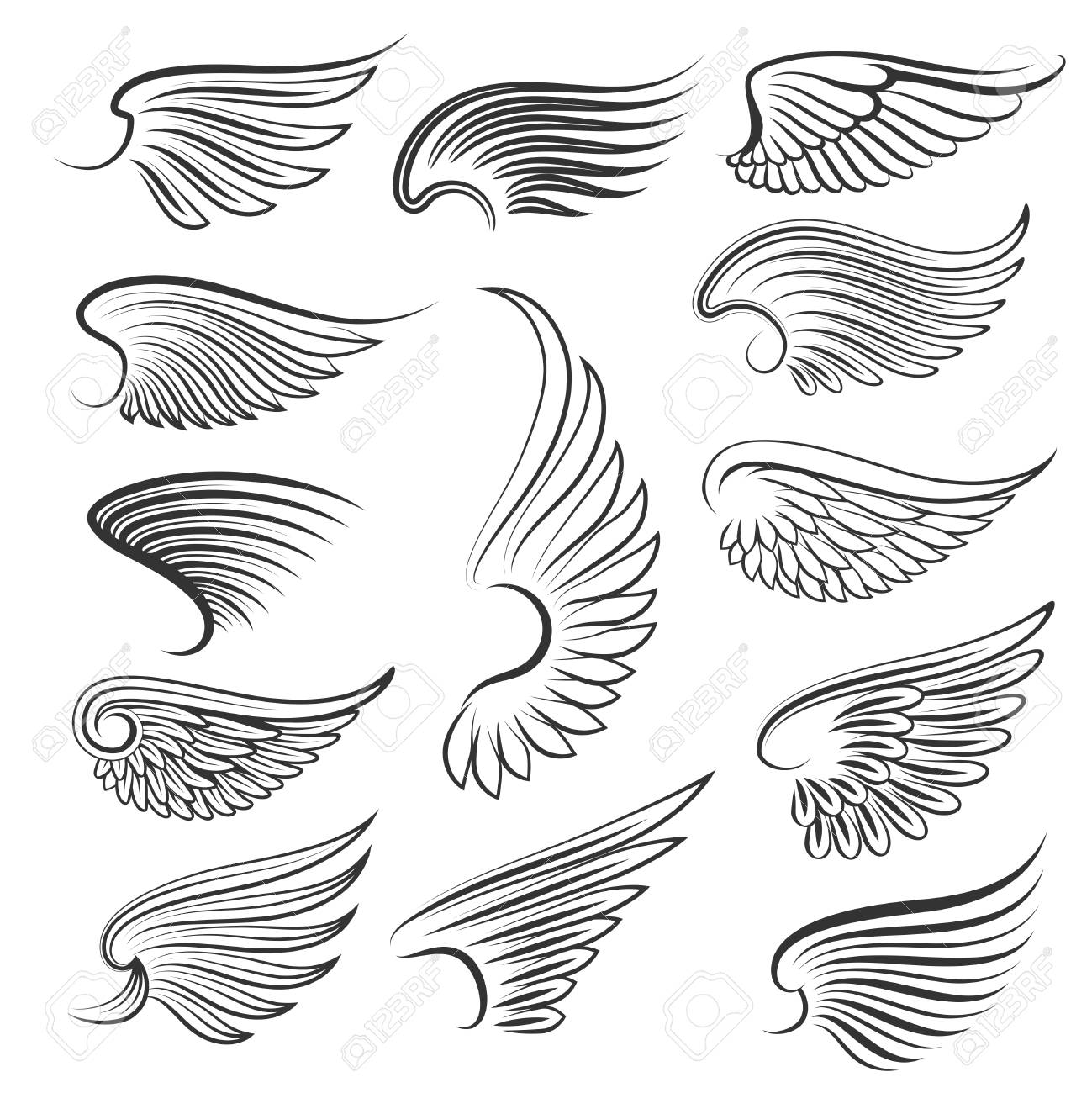 Vector wings isolated on white background. Cartoon tattoo, tribal..