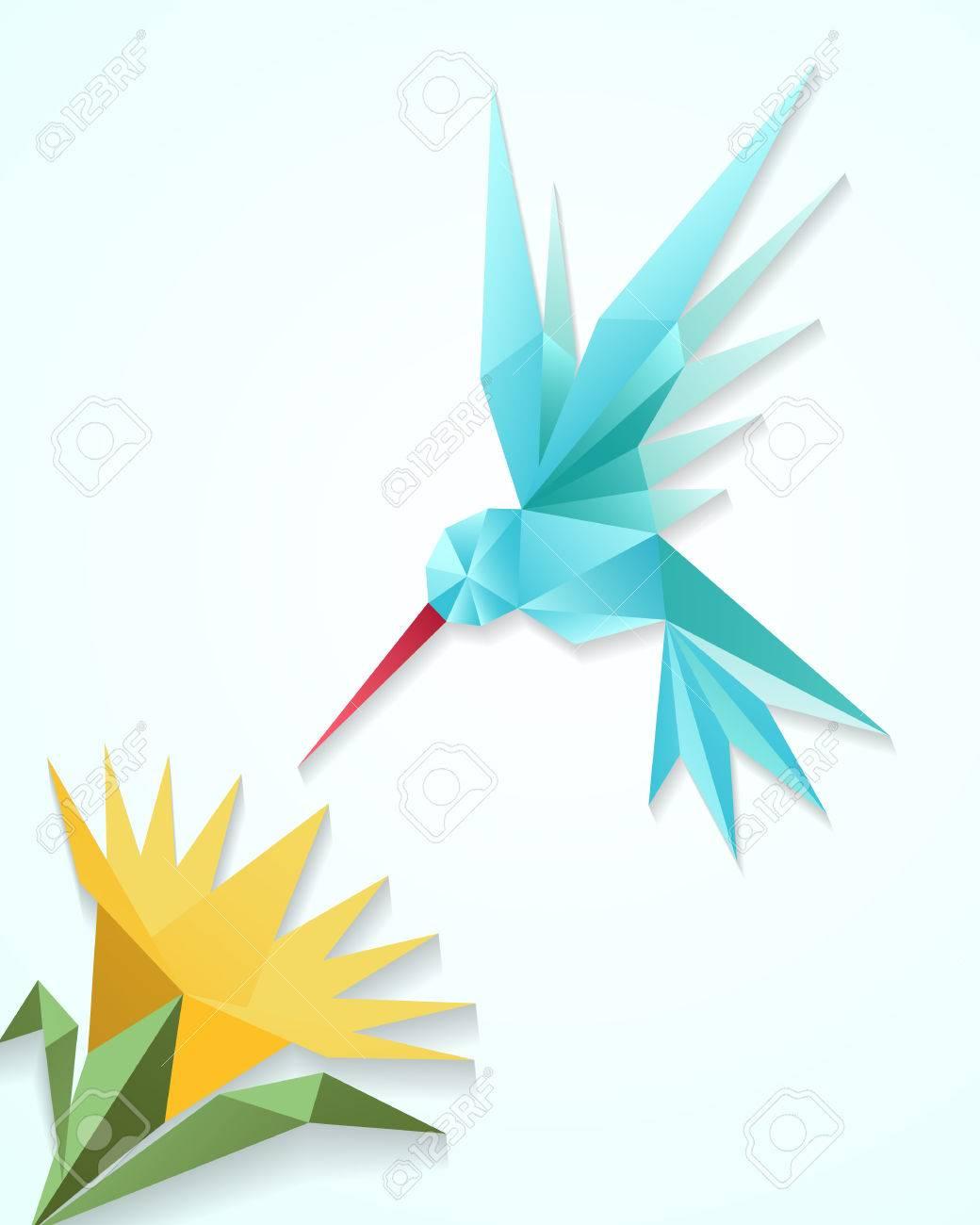 An Easy-to-fold Origami Hummingbird | 1300x1040