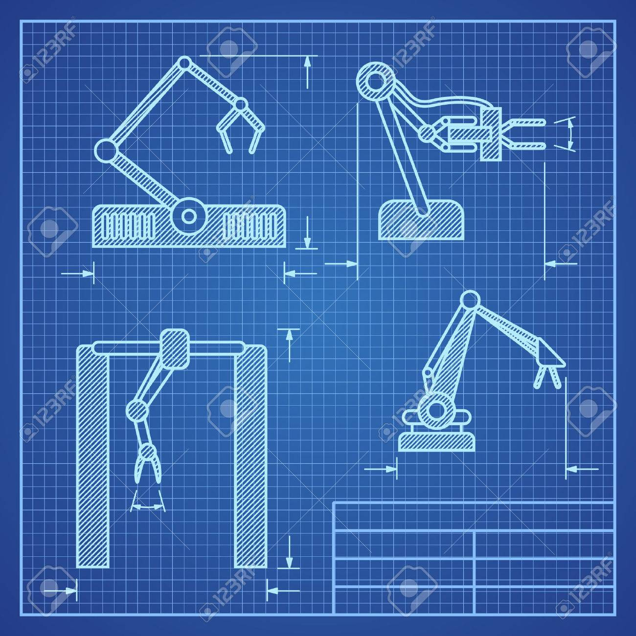 Robot arms blueprint machine industrial robotic vector project robot arms blueprint machine industrial robotic vector project blueprint robotic arm illustration stock vector malvernweather Gallery