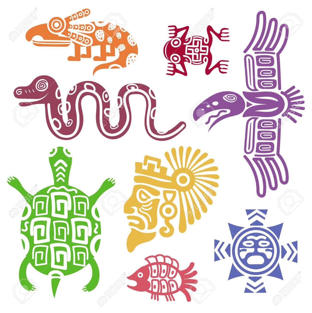 古代メキシコのシンボル ベクトル イラストです。マヤ文化トーテム