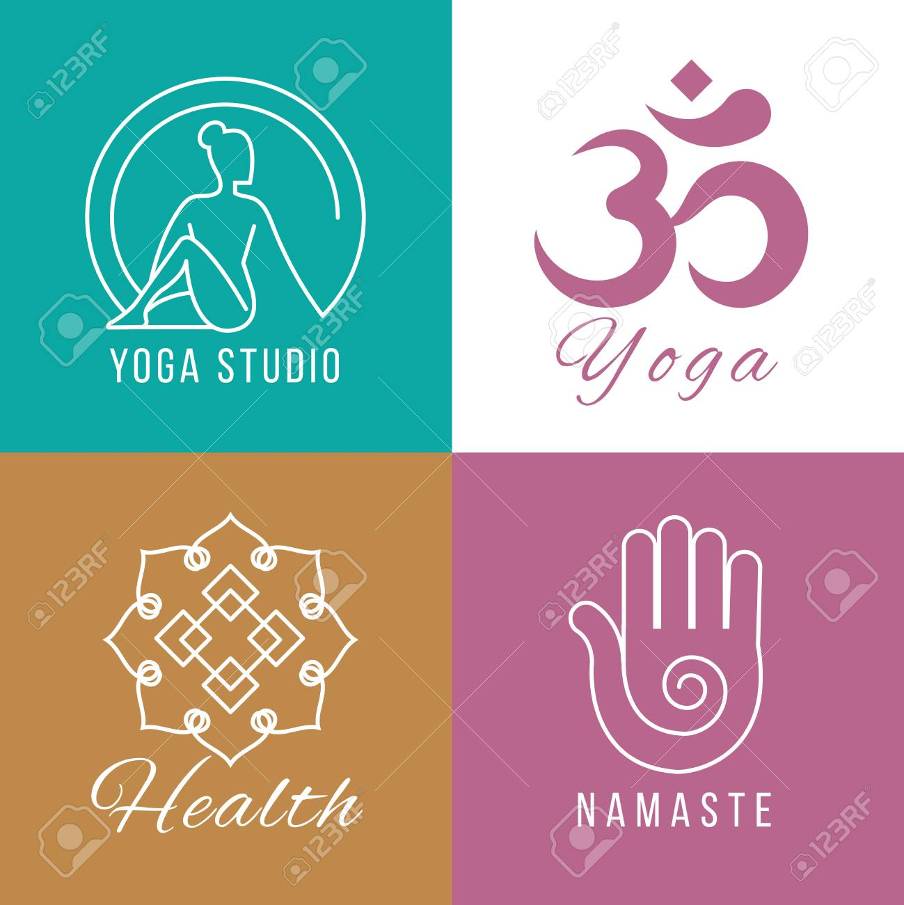 Yoga Set Floral And Nature Harmony Zen And Health Vector Stock