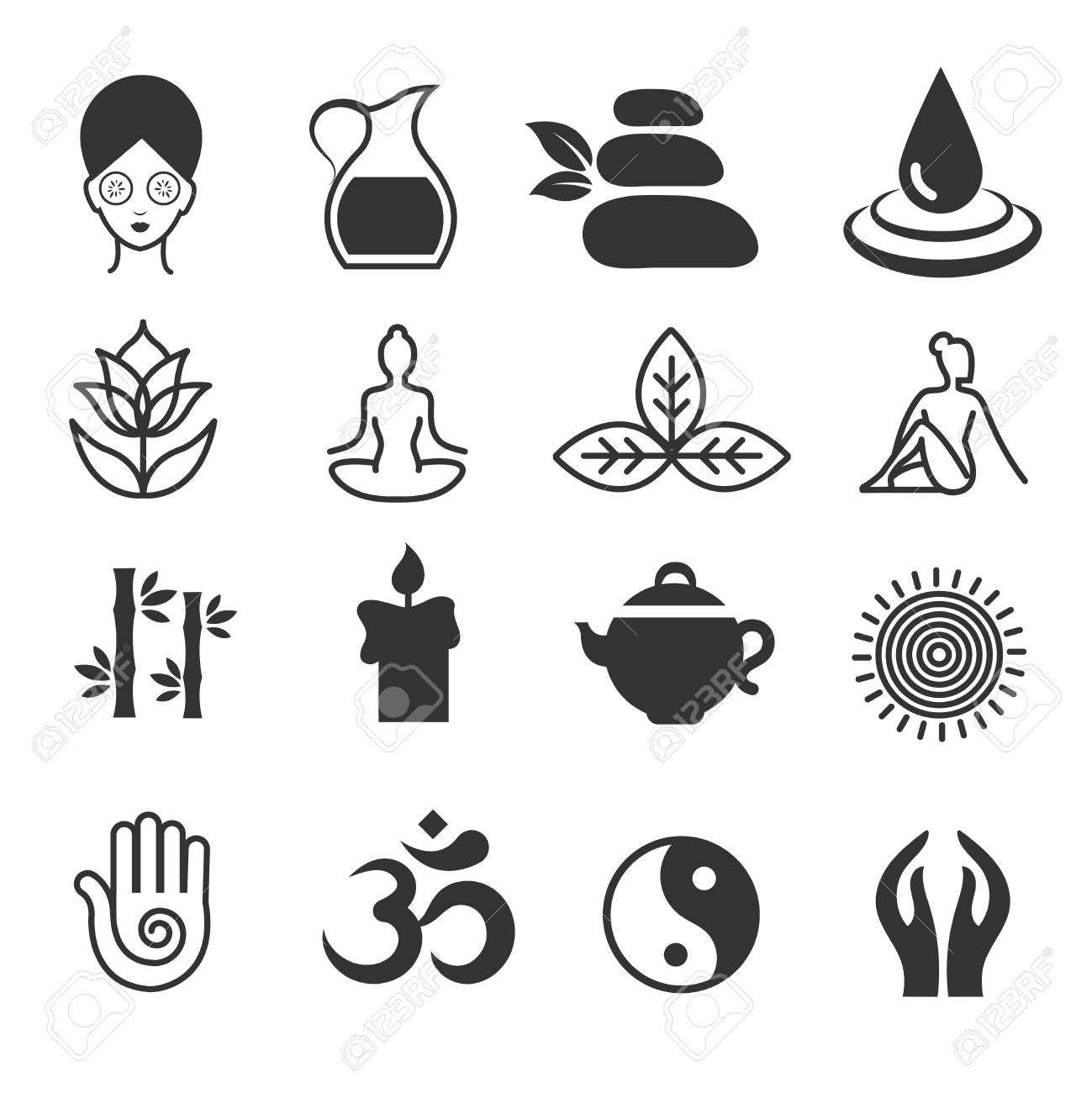 Relax Icons Vector Yoga Health And Spa Symbols Zen Skin Care Royalty Free Cliparts Vectors And Stock Illustration Image 70951195