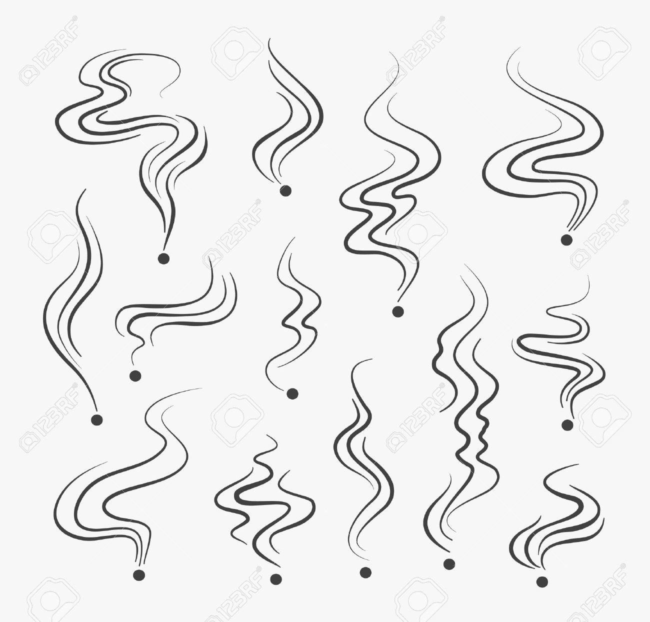 vector smoke smell spiral scent signs stock photo 71051977
