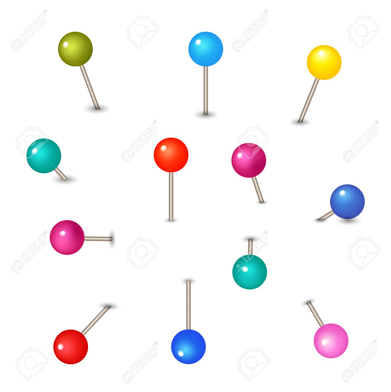vector pushpins isolated on white background push pins for map