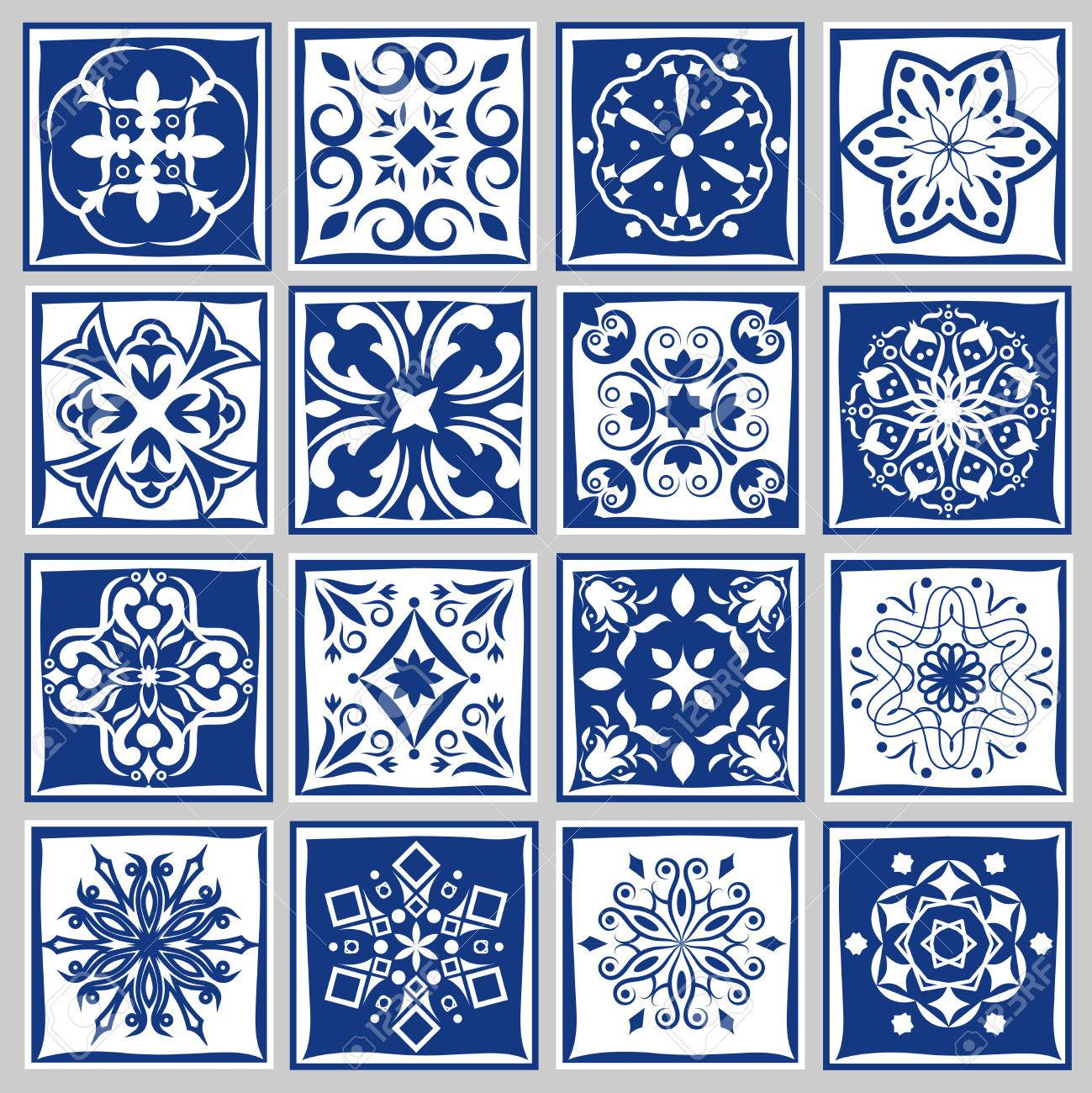 Tile Patterns With Flowers For Bath Or Kitchen. Floral Tiles ...