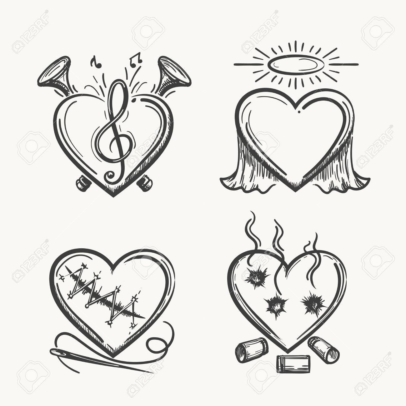 Coeurs De Tatouage Icônes Coeur Dessiné à La Main Illustration Vectorielle Ange De La Musique L Aiguille Et Des Balles Isolé Sur Fond Blanc Clip Art Libres De Droits Vecteurs Et Illustration