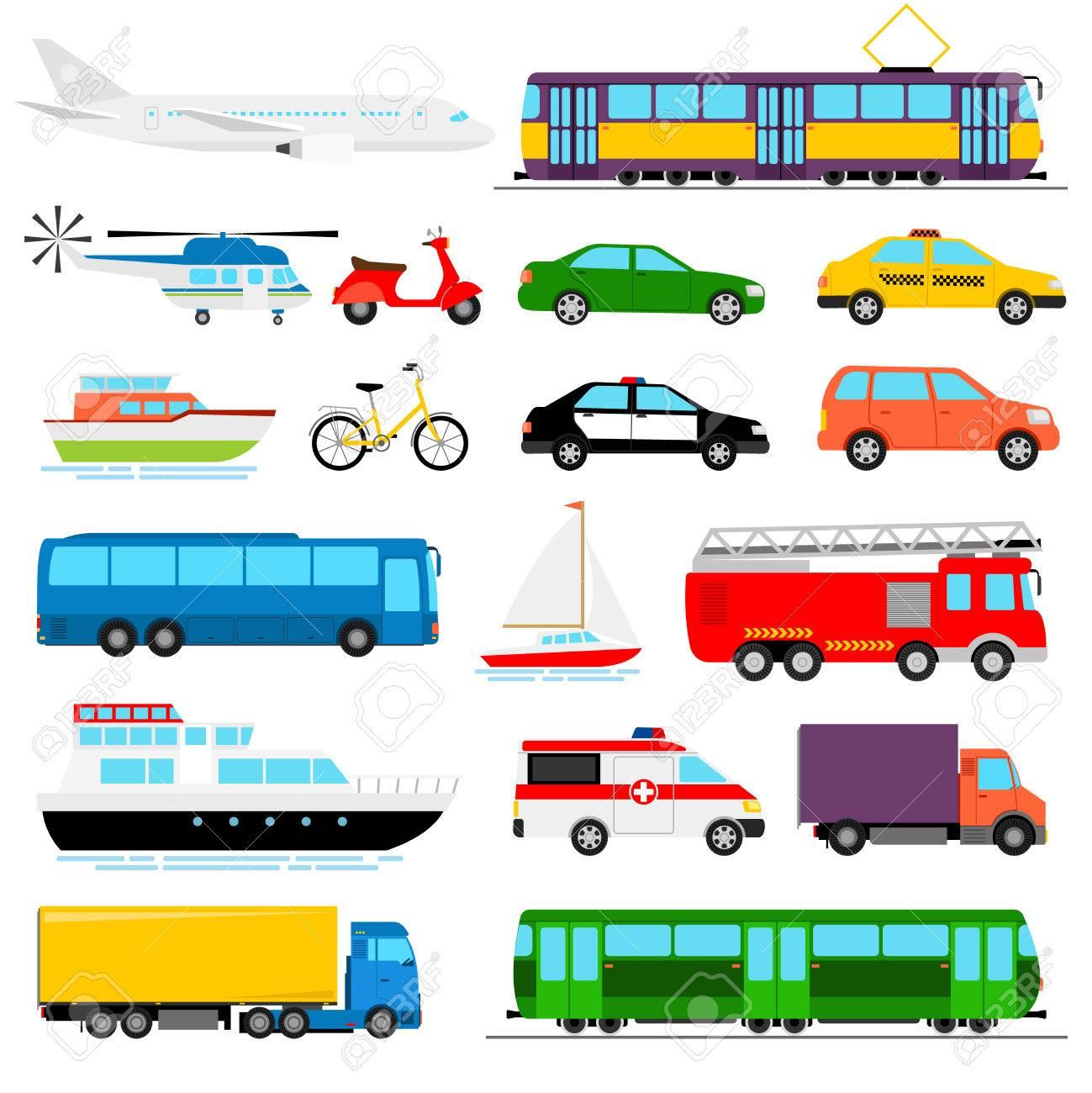 Urban transport colored vector illustration. City transportation - 73851633