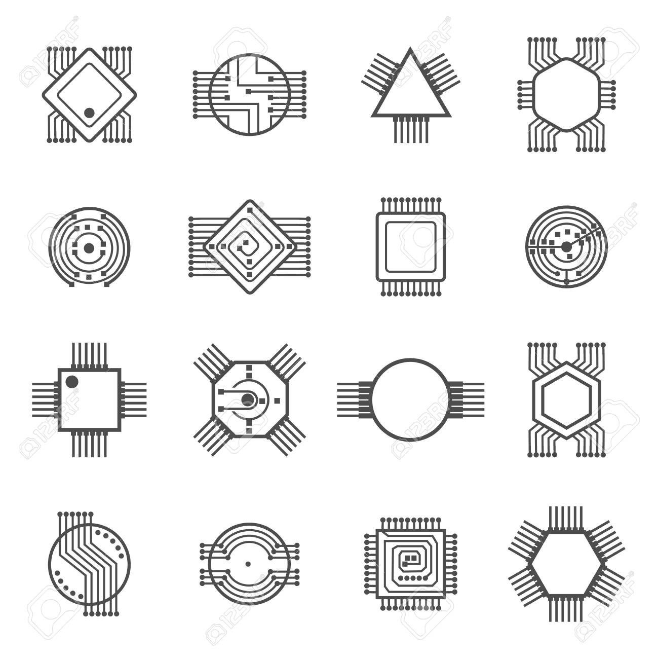 Signs In A Circuit Wiring Diagram And Ebooks Electronic Symbols Stock Vector Illustration 1445110 Computer Chip Icons Processor Rh 123rf Com For