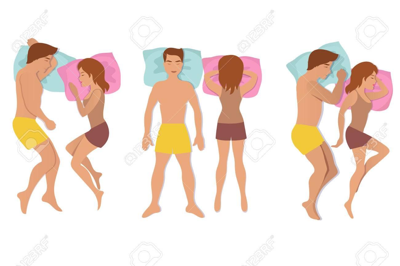 ポーズを寝ているカップル男と女の休憩ポジションを夢とベクトル