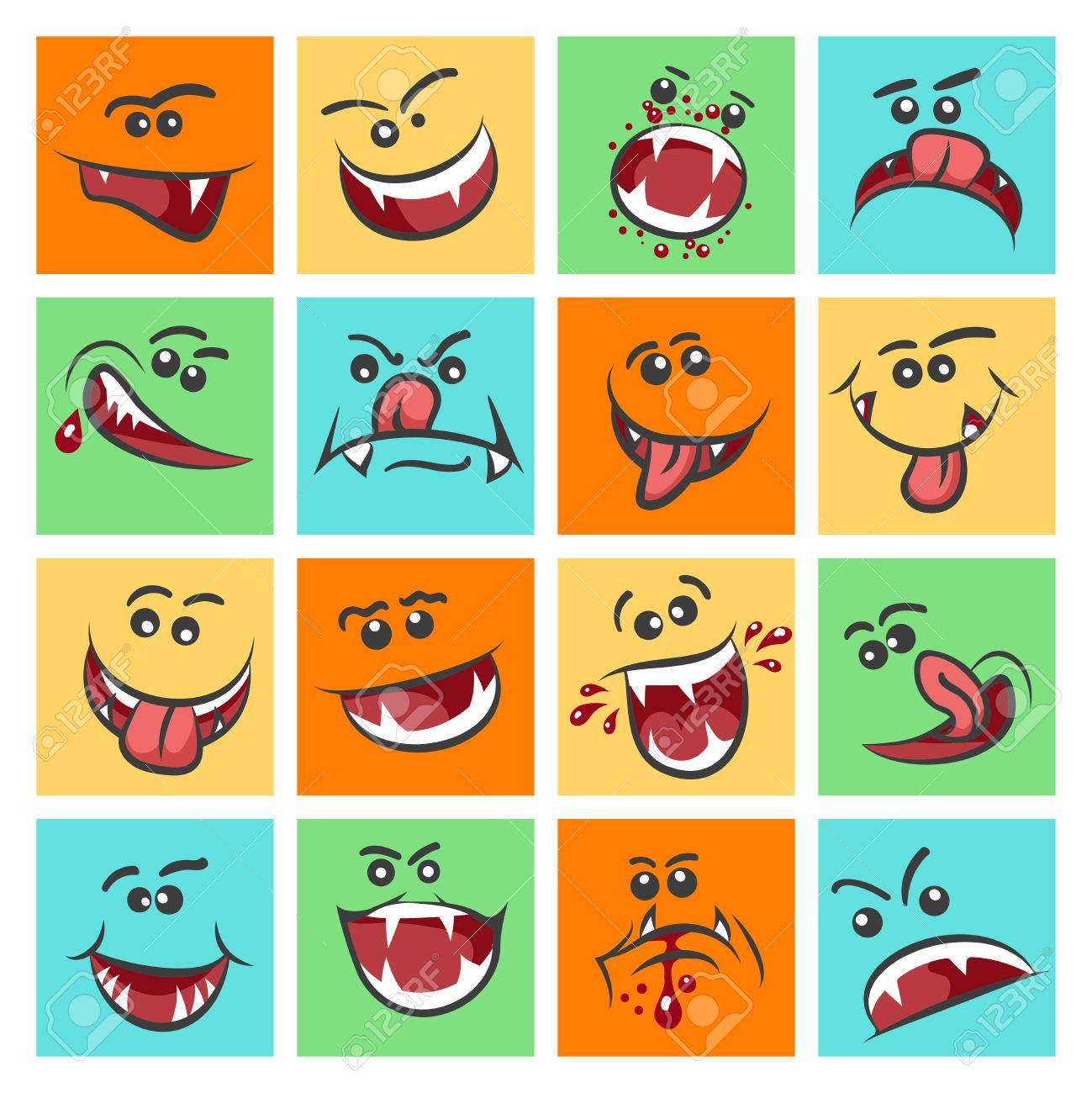 Colorful Emoticon Faces Vector Illustration Cute Mood Icons