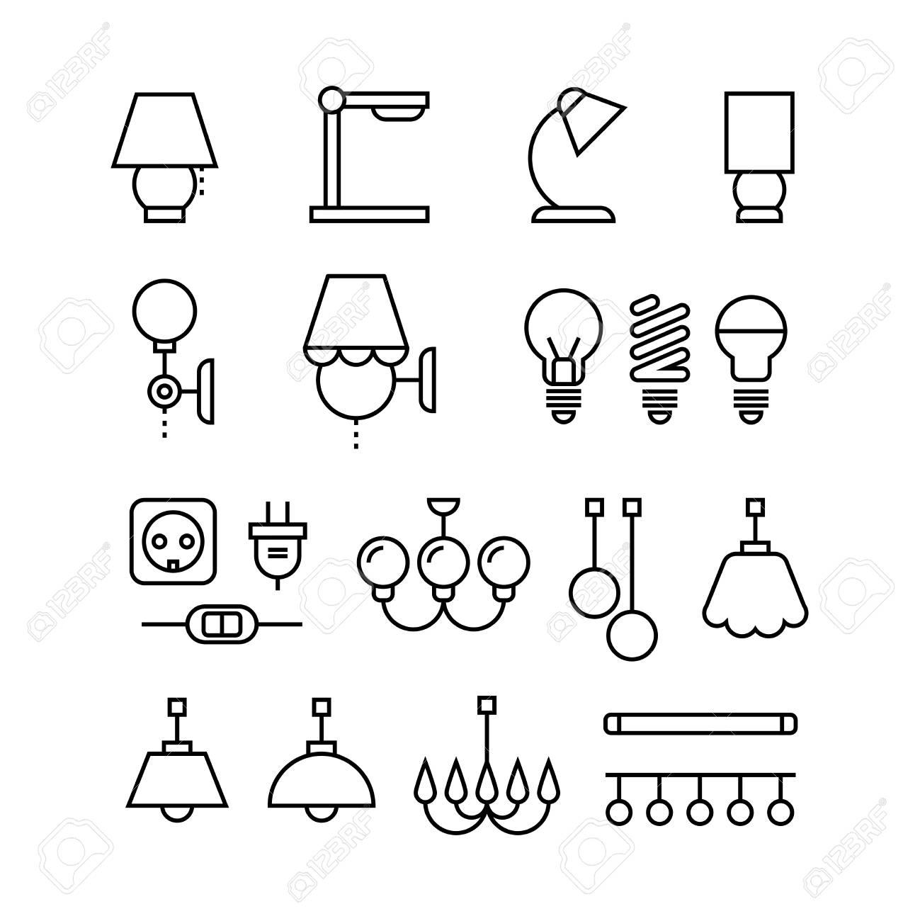 Lampe, Glühbirnen, Kronleuchter Und Elektrische Geräte Dünne Linie ...
