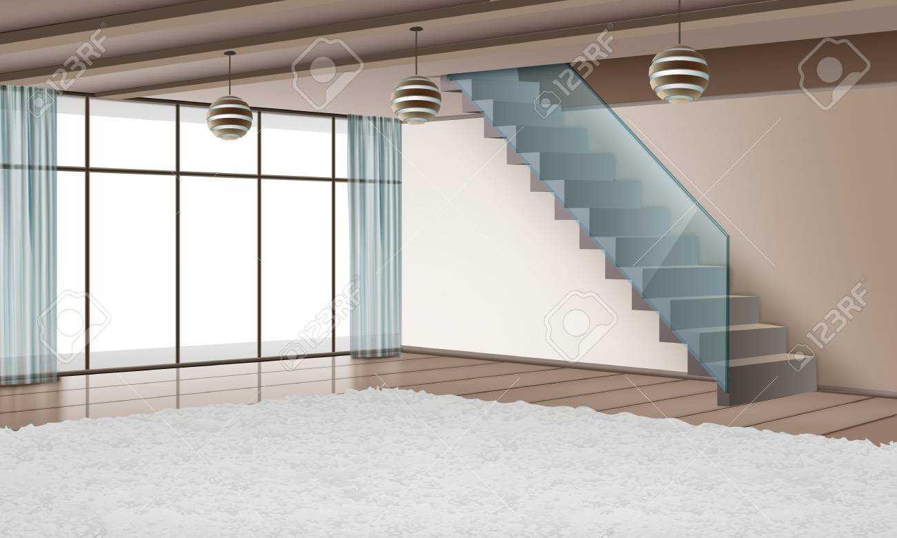 Vector Illustration Of Modern Interior With Staircase And Eco ...