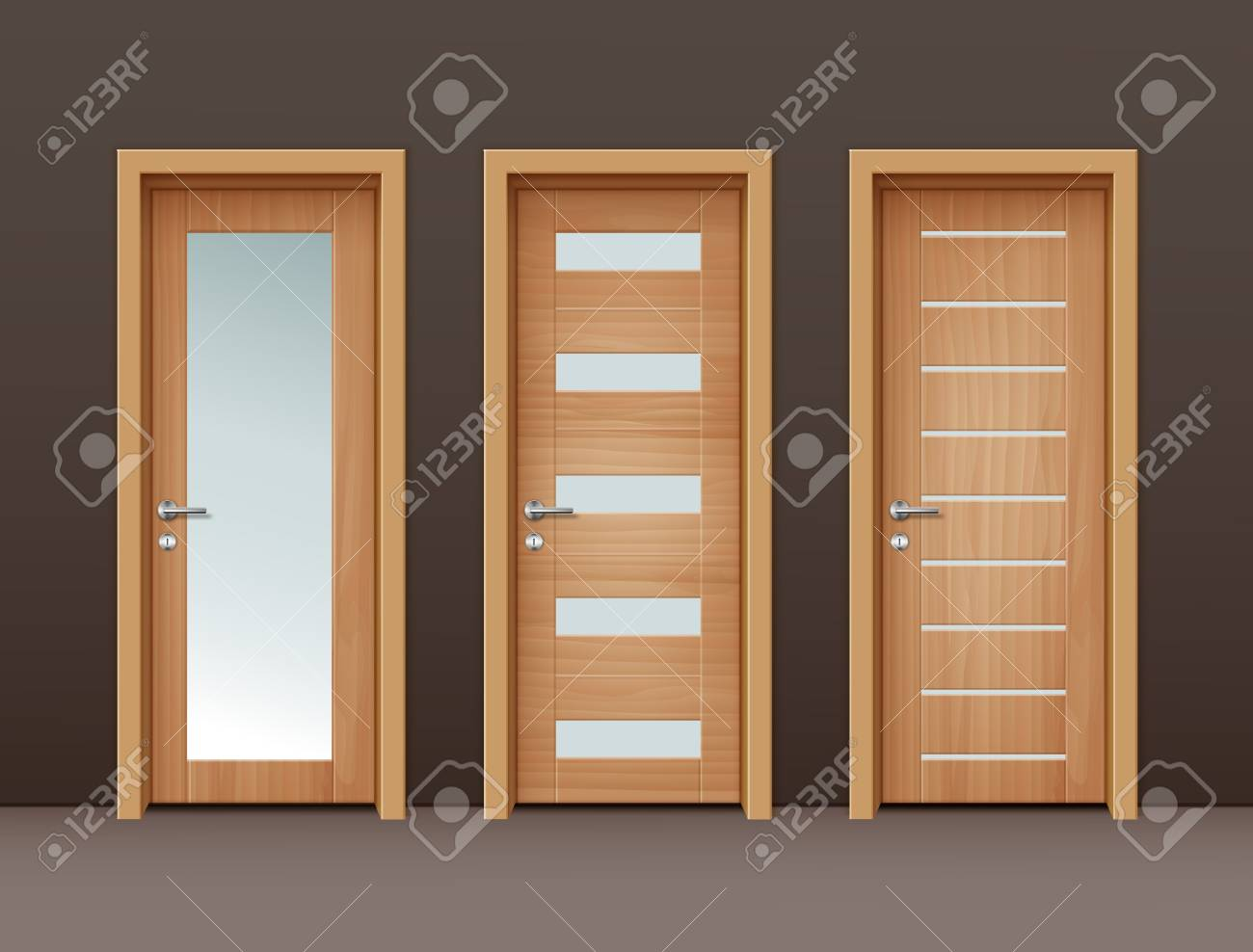 Vector - Vector modern wooden doors with glass in eco-minimalism style on wall of brown color & Vector Modern Wooden Doors With Glass In Eco-minimalism Style ...