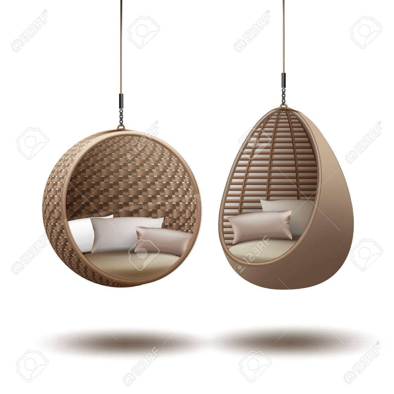 Wicker Hanging Chairs Swing Hanging On A Chain With Cushions Royalty Free Cliparts Vectors And Stock Illustration Image 89310301