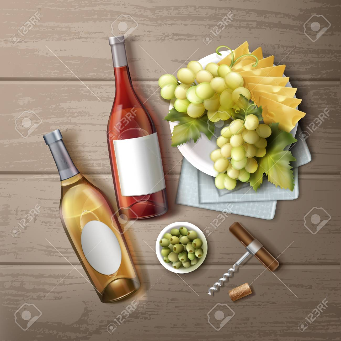 A Vector illustration of different wine bottles with snack and