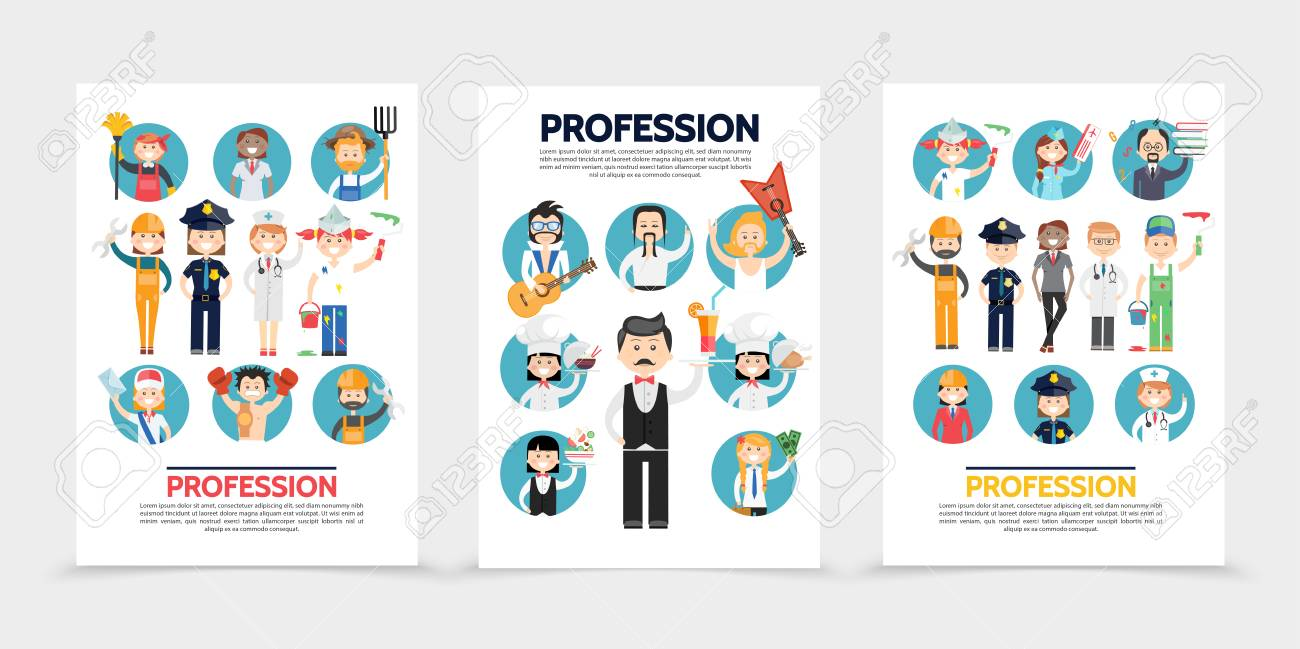 flat professions brochures with stylist farmer builder doctors