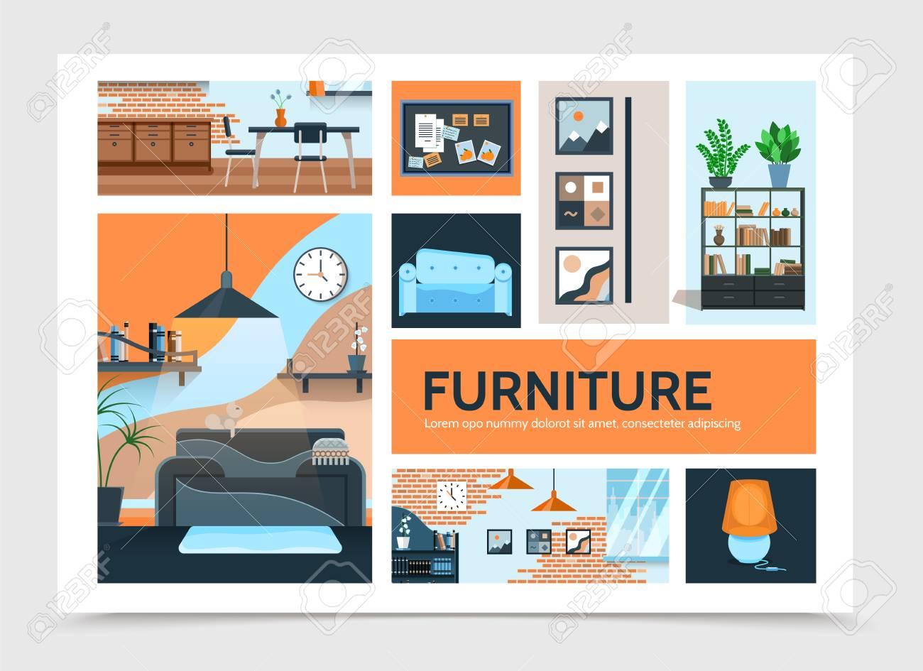 Flat home interior infographic template with furniture pictures lamp cupboard table chairs plants clock modern brick wall design vector illustration - 106619103
