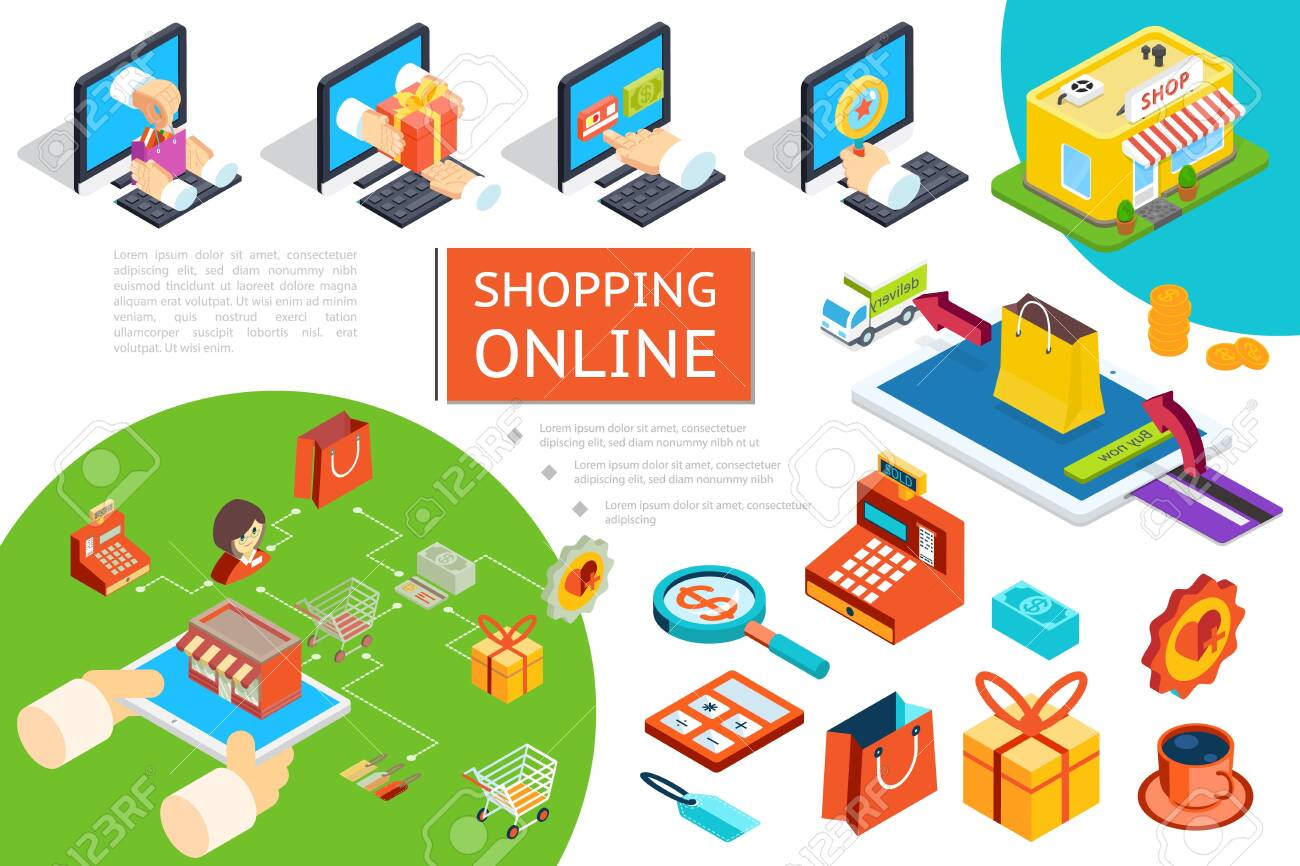 Isometric e-commerce composition with goods purchase in online store using laptops delivery truck cash machine gift box bag coffee cup vector illustration - 129540263