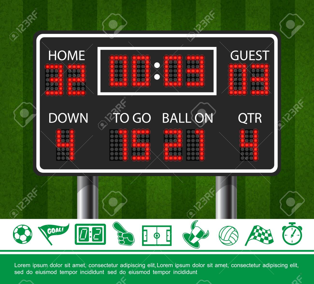 Colorful Sport Concept With American Football Scoreboard On Green