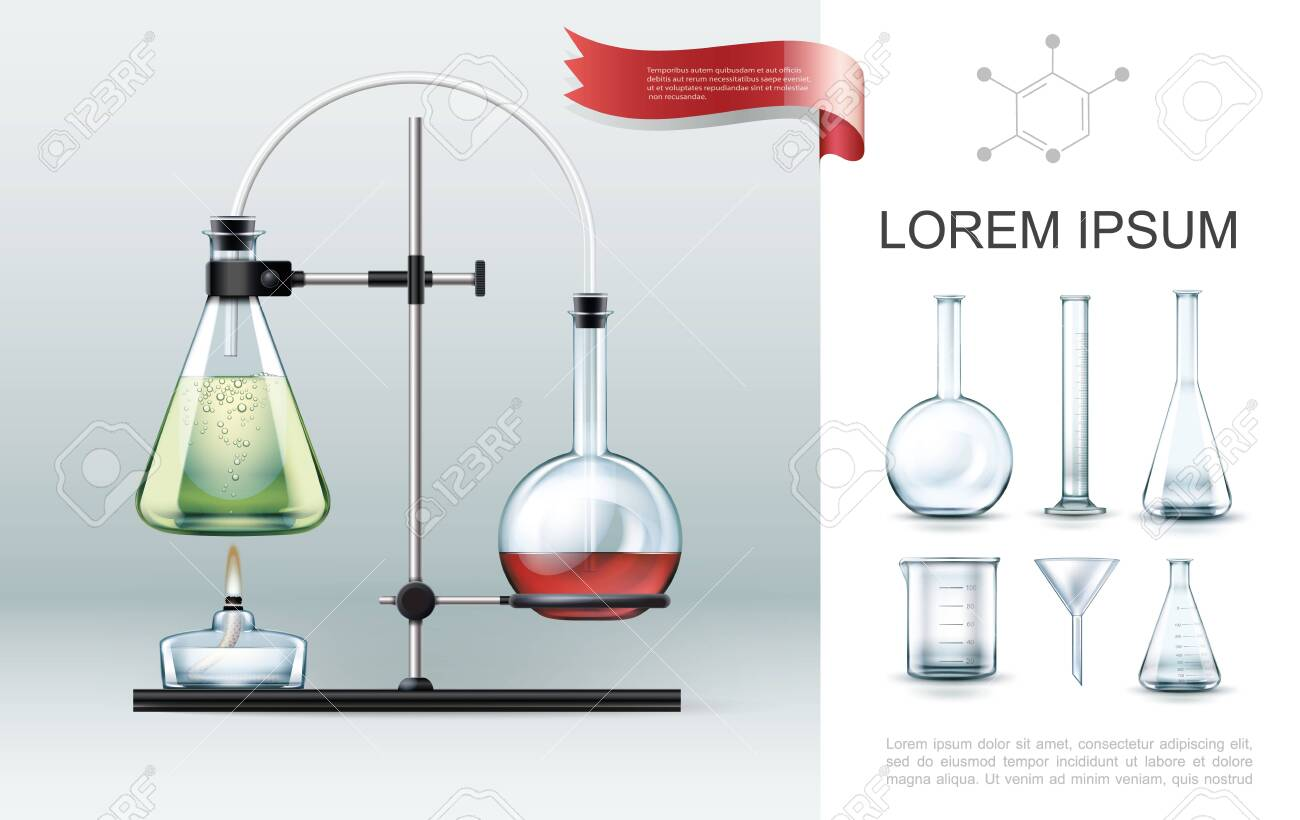 Realistic laboratory experiment elements concept with test tubes alcohol burner beaker funnel and flasks of different shapes vector illustration - 136620299