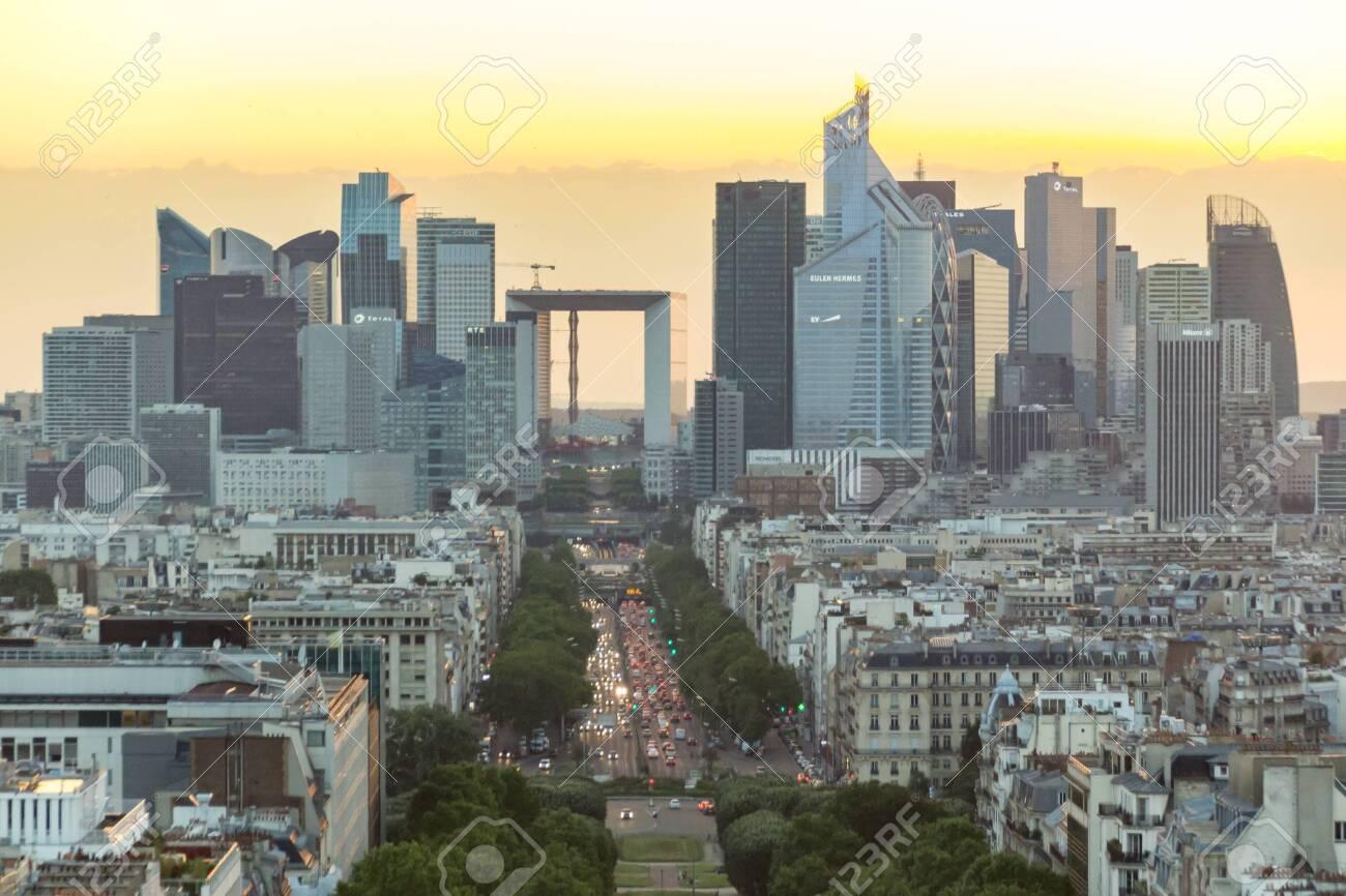 Paris, France - June 24, 2016: Sunset view of Paris from the top of Triumphal Arch de l Etoile. - 145572137