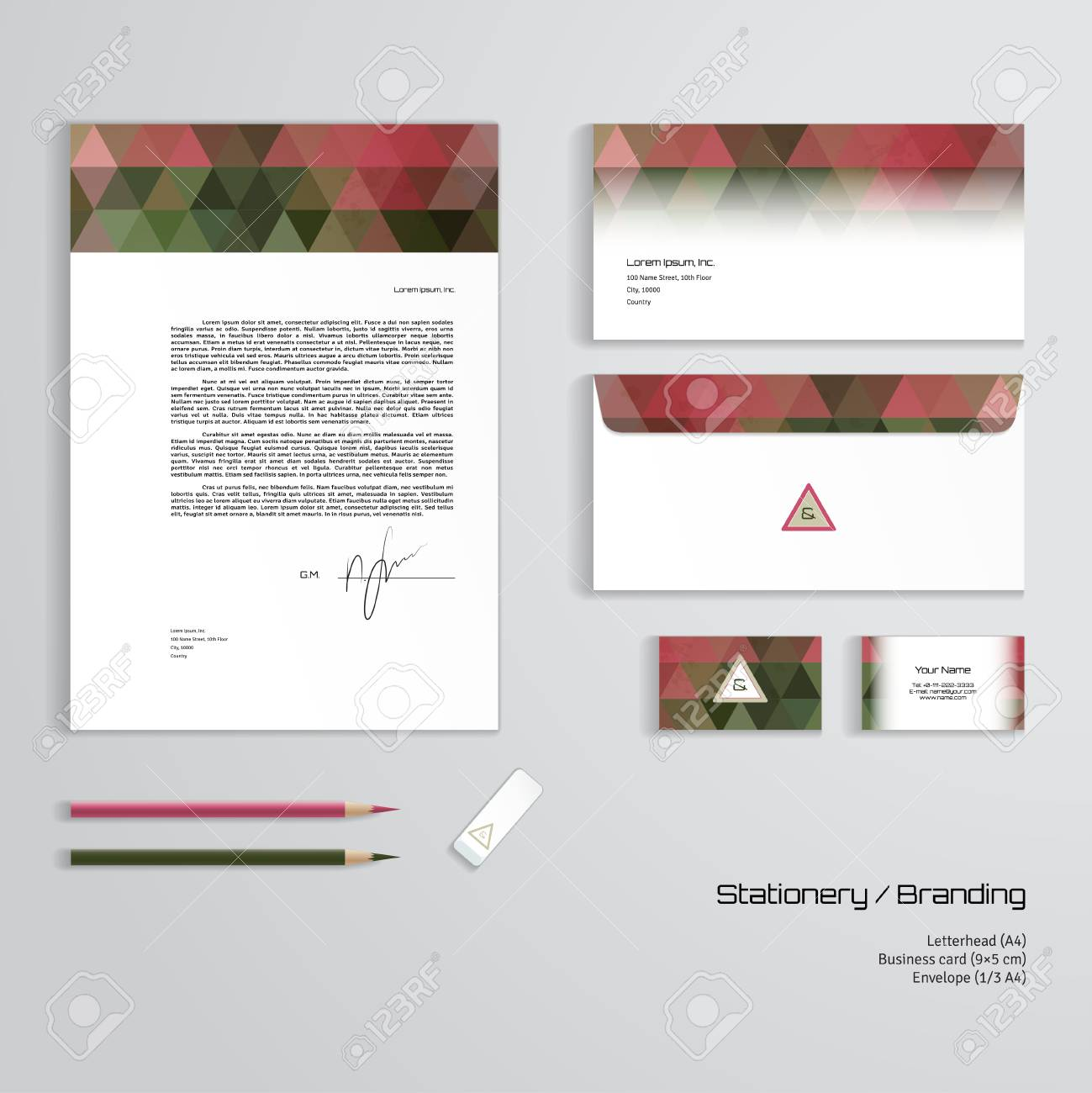 Vector corporate identity templates multicolored geometric pattern multicolored geometric pattern letterhead envelope business card pencils eraser easy editing of all parts and colors dimensions are given flashek Choice Image