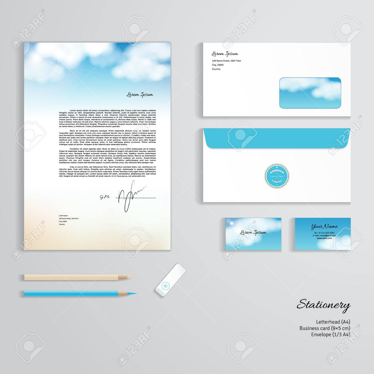 Vector corporate identity templates sky clouds sunshine and vector vector corporate identity templates sky clouds sunshine and sandy beach letterhead envelope business card pencils eraser accmission Choice Image