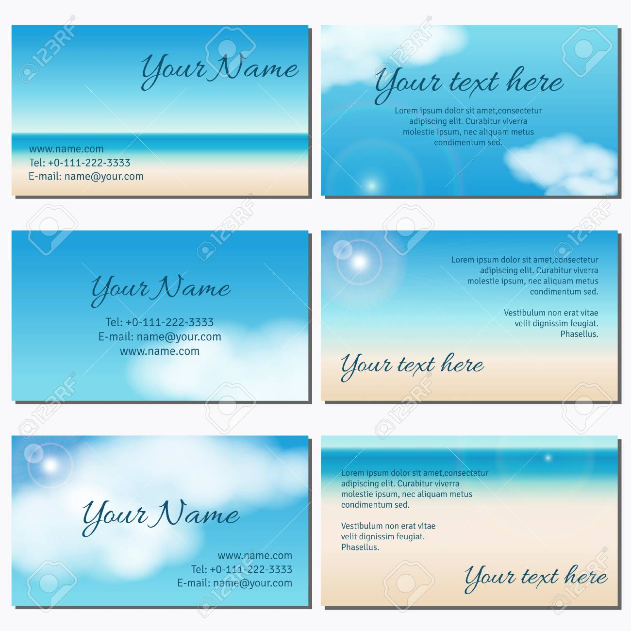 Set Of Six Horizontal Business Cards. Sky, Clouds, Sunshine ...
