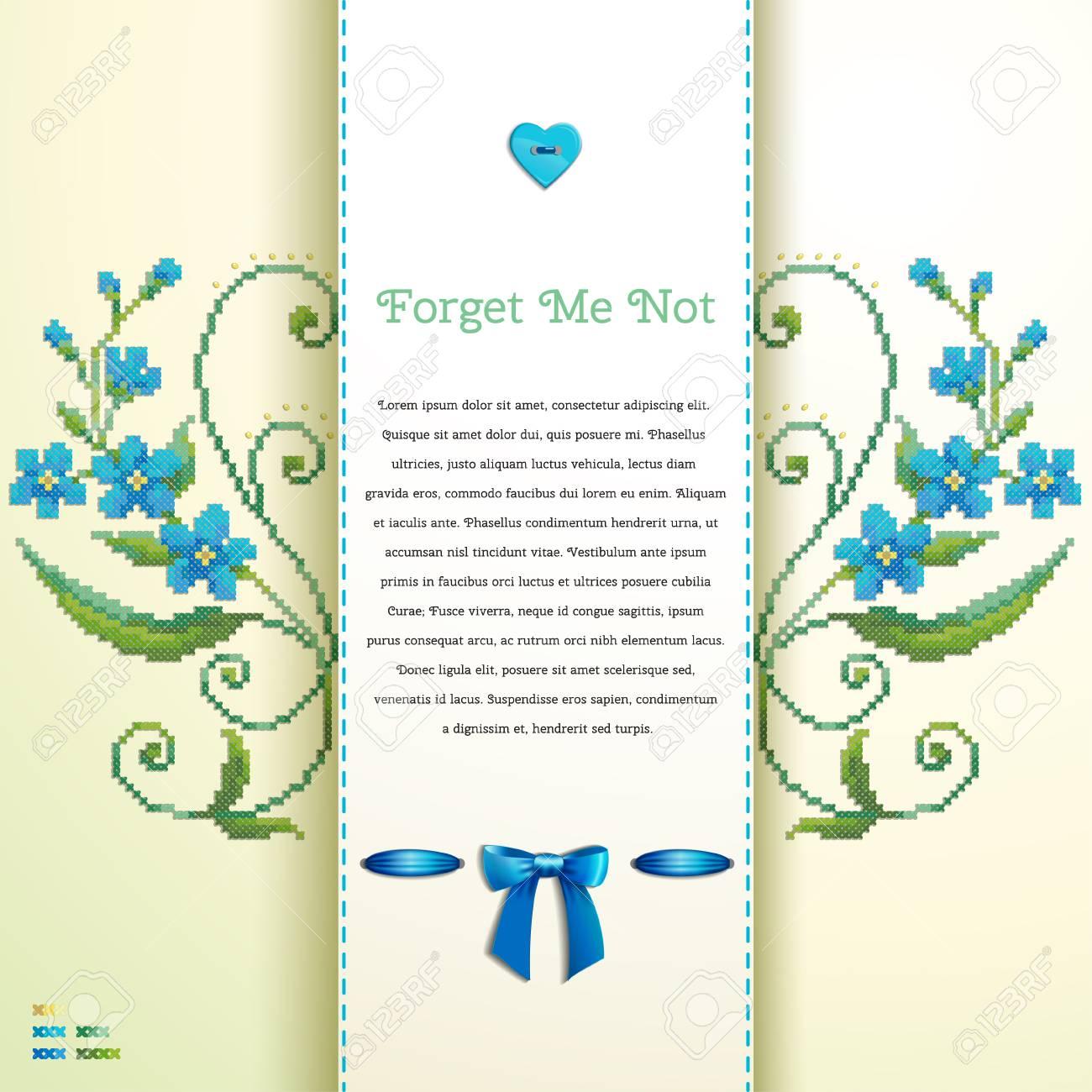 Hermosa Tarjeta De Vector Floral. El Patrón Imita Bordado Punto De ...