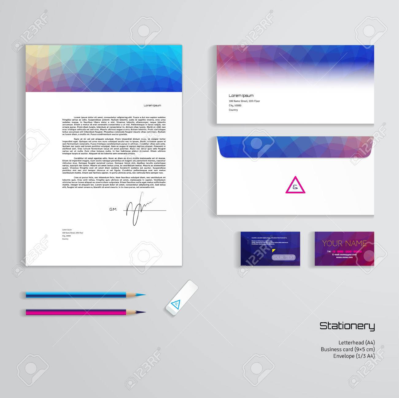 Vector Identity Templates. Multicolored Geometric Pattern ...