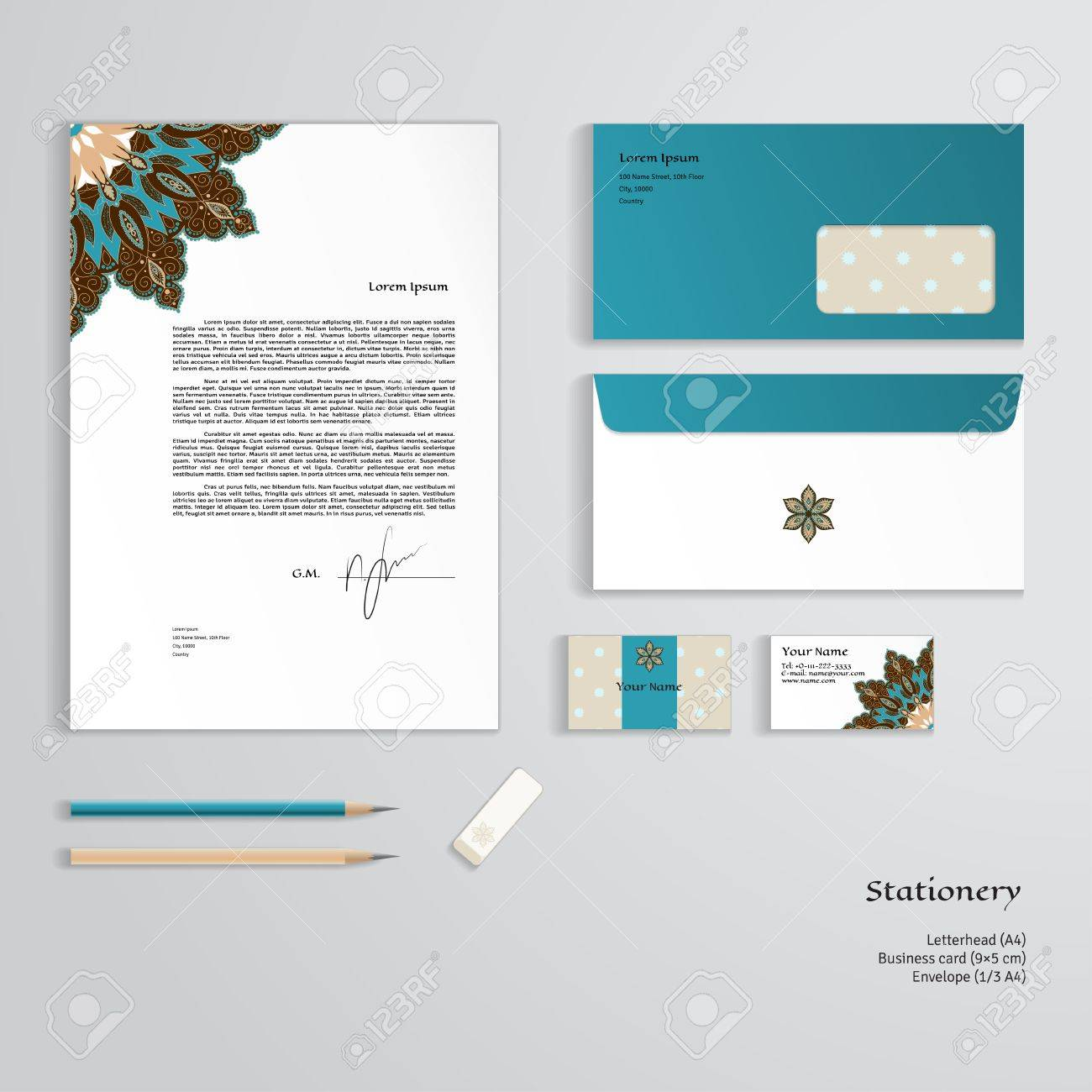 Vector identity templates oriental floral pattern on vintage oriental floral pattern on vintage background letterhead envelope business card pencils eraser easy editing of all parts and colors cheaphphosting Image collections