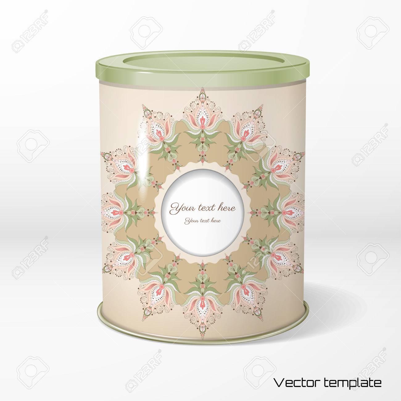 c22506ecb Embalaje de estaño redondo. Té, café, productos secos. Patrón floral vintage .