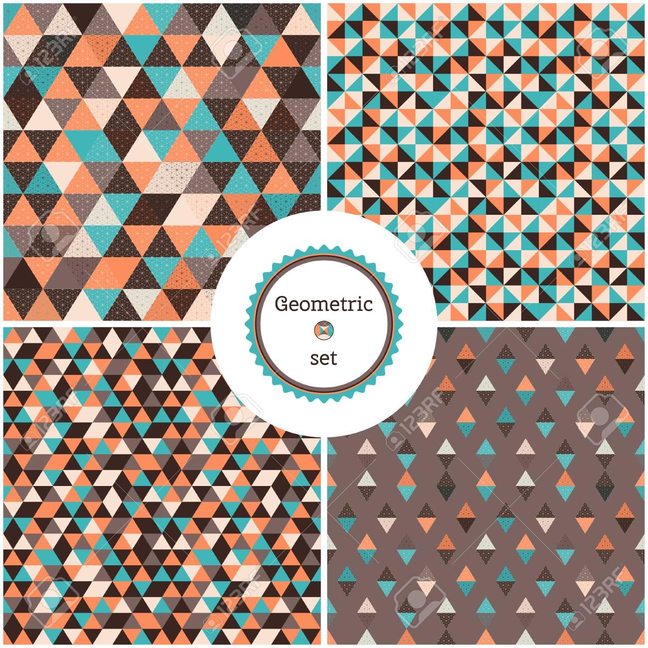 Conjunto De Cuatro Fondos Geométricos Inconsútiles. Triángulos ...