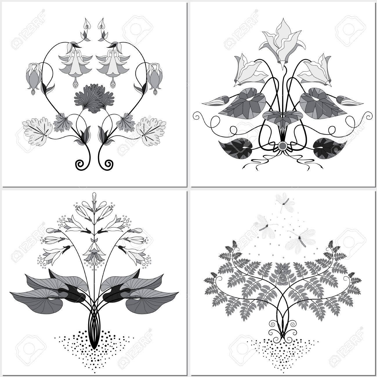 Ensemble Vectoriel De Quatre Elements Floraux Pour Creer Des Motifs