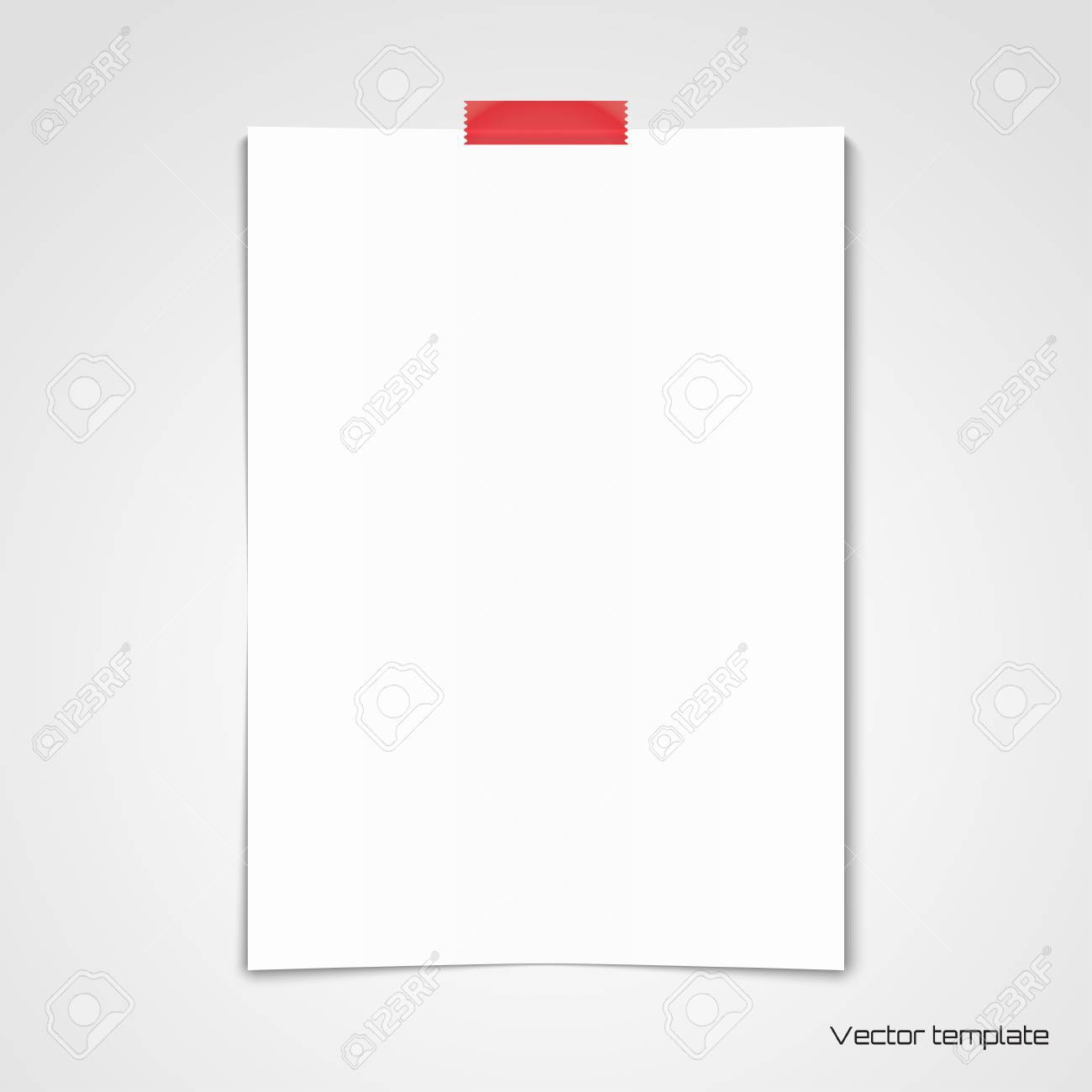 vector template white sheet of paper glued with adhesive tape
