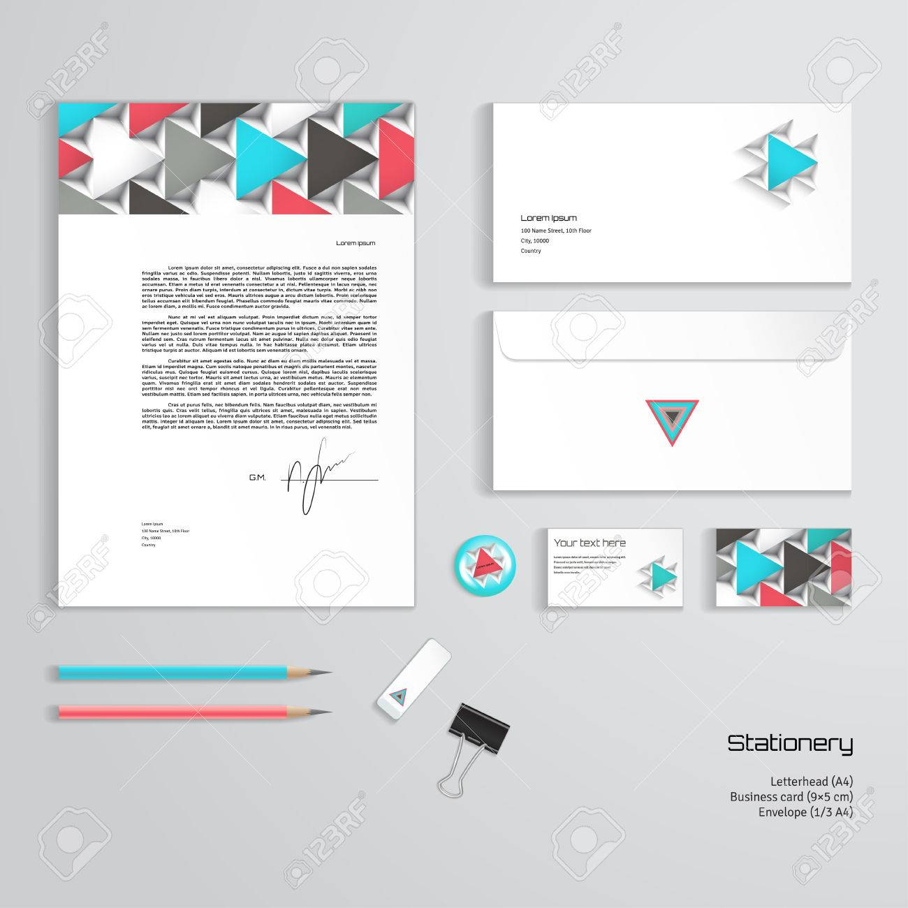 Vector Identity Templates. Colored Volumetric Pattern Of Triangles ...