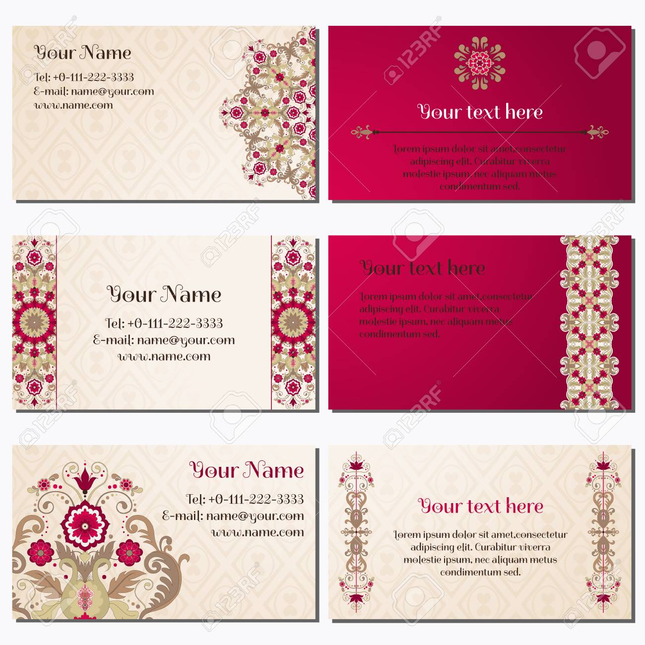 Set Of Six Horizontal Business Cards. Beautiful Floral Pattern ...