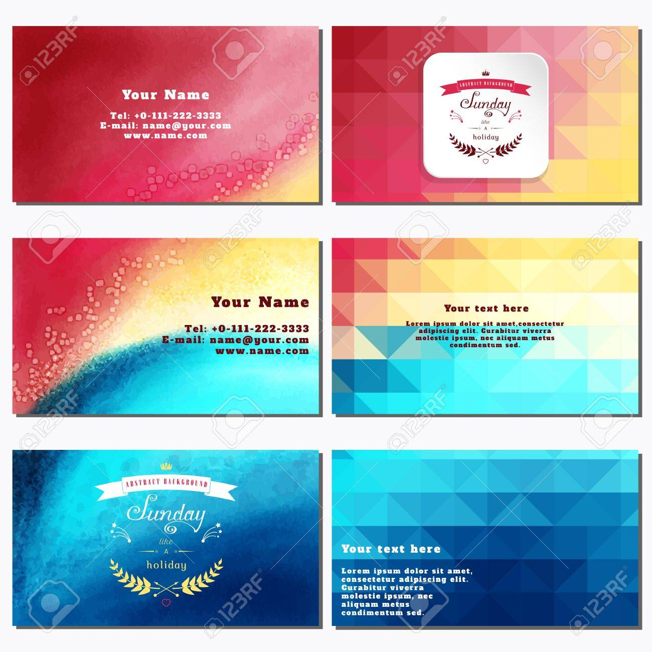 Vector set of six horizontal business cards multicolored watercolor vector vector set of six horizontal business cards multicolored watercolor and shapes beautiful inscription in retro style sunday like a holiday colourmoves