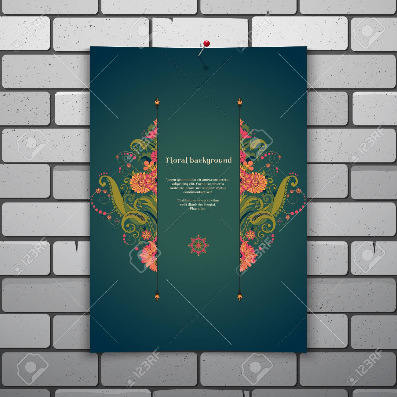 Brick wall digital background template stock illustration.