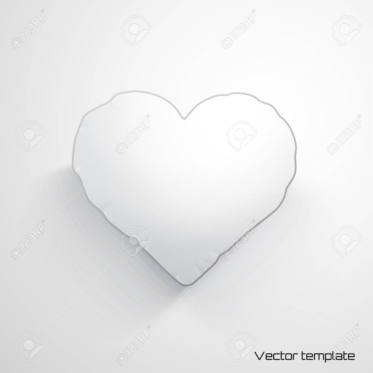 vector template white heart pillow realistic shadows royalty free